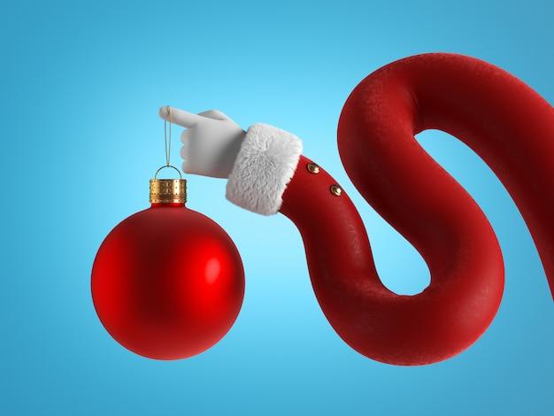 Flexibele hand in rode mouw met wit bont houdt rode bal vast.