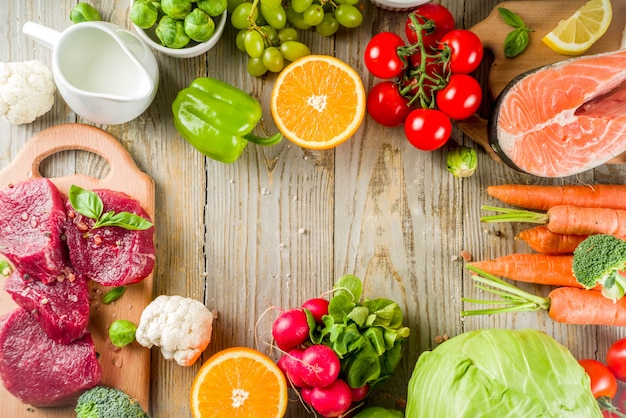 Flexitaire dieet achtergrondvoedselingrediënten, vlees, seaffod en groenten