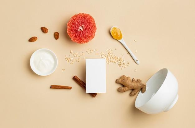 Flexitarisch dieet met fruitregeling bovenaanzicht