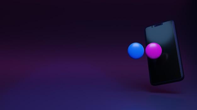Flickr-logo-applicatie met 3d-renderingsjabloon voor smartphoneweergave