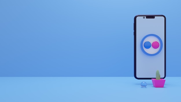 Flickr-logopictogram op de smartphone 3d-rendering social media ads