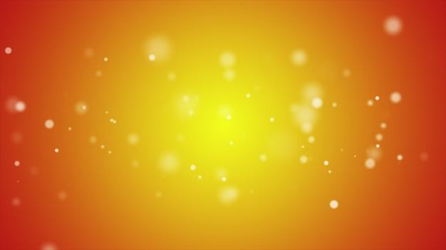 Flikkerende deeltjes, willekeurige beweging van deeltjes in oranje kleur, 3d illustratie