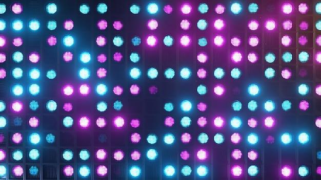 Flikkerende wandlampen. knipperlichten lantaarns voor clubs en discotheken. matrix beam-koplampen. nachtclub halogeenlamp. modern neon spectrum. 3d-afbeelding