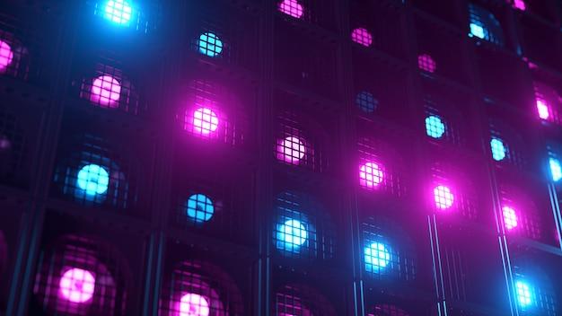Flikkerende wandlampen. knipperlichten lantaarns voor clubs en discotheken. nachtclub halogeenlamp. modern neon spectrum.