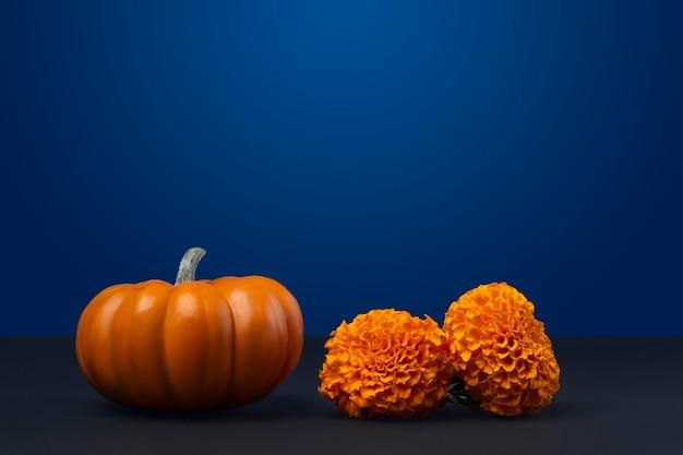 Flor de cempasuchil con una calabaza al lado y fondo azul