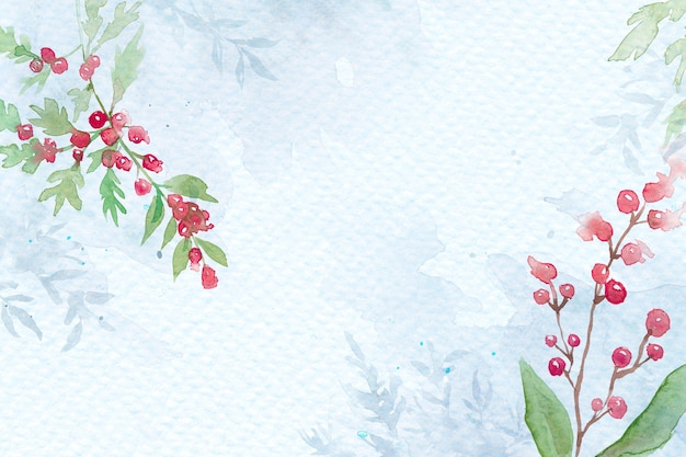 Floral kerst grens achtergrond in blauw met mooie rode winterberry