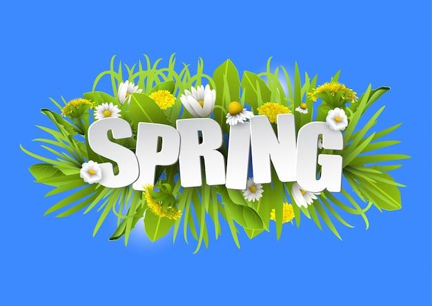 Floral lente typografie achtergrond met paardebloemen en kamilles