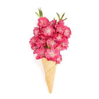 Floral plat lag lentebloemen perzikboom bloesem