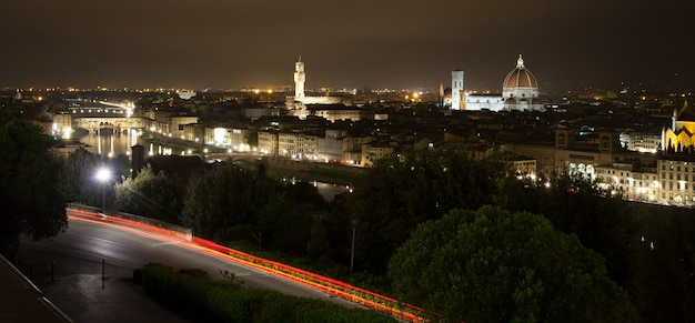 Florence nachtzicht, italiaans panorama