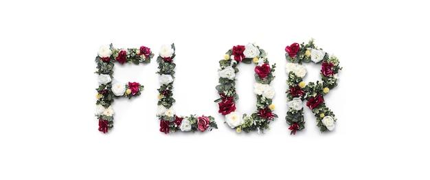 Florwoord van bloemen op wit wordt gemaakt dat