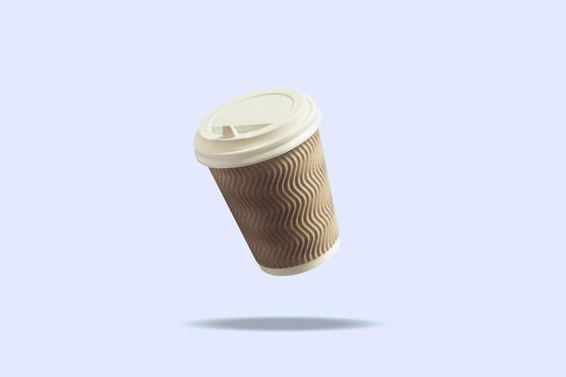 Flying paper cup met een dop voor koffie of thee op een blauwe ondergrond. levitatie. koffie en coffeeshopconcept, afhaalmaaltijden, ontbijt met u.
