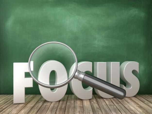 Focus 3d word met loep op schoolbord