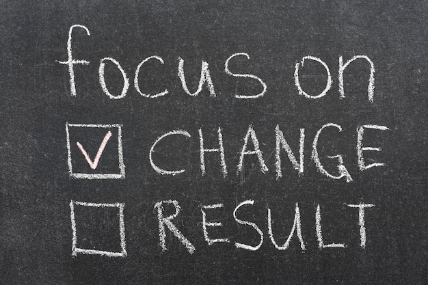 Focus op verandering concept zin handgeschreven op blackboard