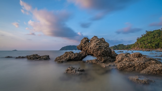 Fog srock island sea scenery
