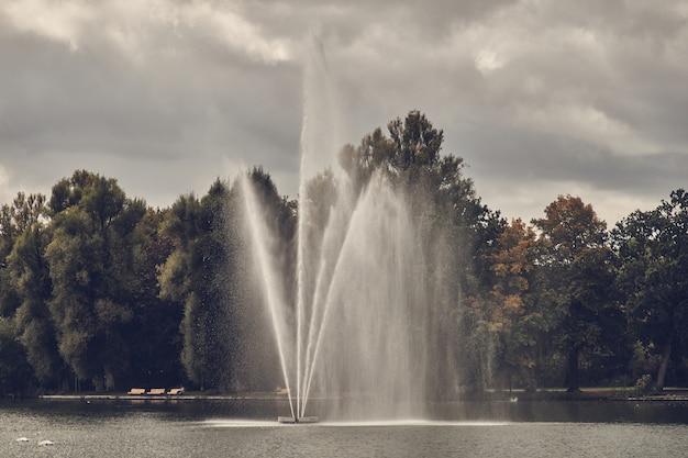 Fontein in het meer tegen de achtergrond van een herfst forestand een lood bewolkte hemel