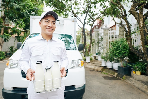 Food delivery service worker portrait