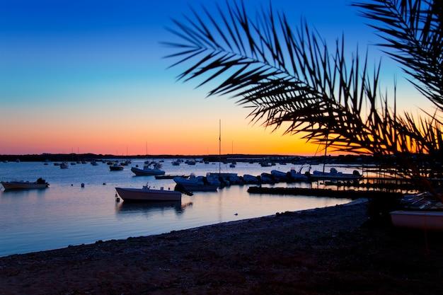 Formentera-zonsondergang in se estany des peix