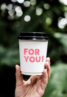 Formulering voor u op een papieren kopje koffie
