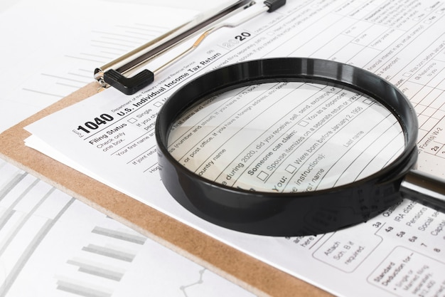 Formulier 1040. de verklaring voor de inkomstenbelasting van de verenigde staten.