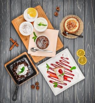 Foto's van heerlijke desserts, verschillende snoepjes.