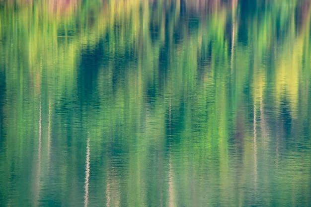 Foto's wazige bomen weerkaatsen vanaf het oppervlak van het water.