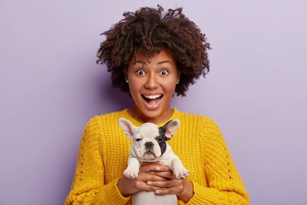 Foto van blije afro-amerikaanse huisdiereneigenaar houdt kleine witte en zwarte puppy vast, heeft een vrolijke uitdrukking, draagt een gele gebreide trui, geeft om huisdier, denkt welke producten te kopen voor gezonde voeding