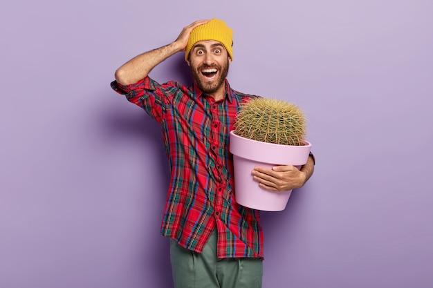 Foto van blije ongeschoren jongeman houdt hand op zijn hoofd, draagt pot met groene plant, ontvangt cactus met stekelige doornen als cadeau, draagt gele hoed en vlecht rood shirt, geeft om potplant