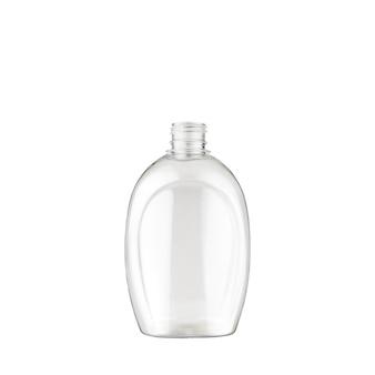 Foto van een lege ronde fles op een witte achtergrond, isoleer.