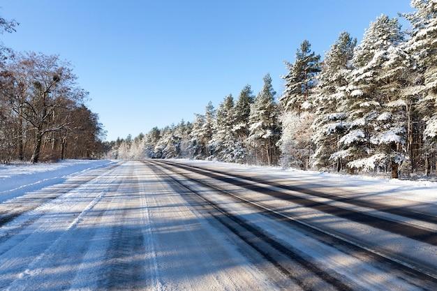 Foto van een weg door het bos in het winterseizoen