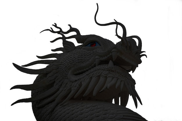 Foto van een zwarte draak op een witte achtergrond