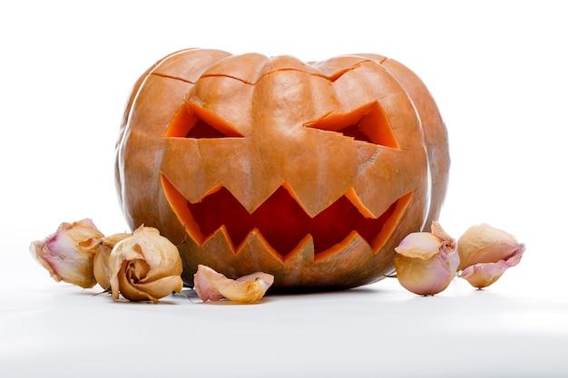 Foto van halloween-pompoen. enge jack o'lantern