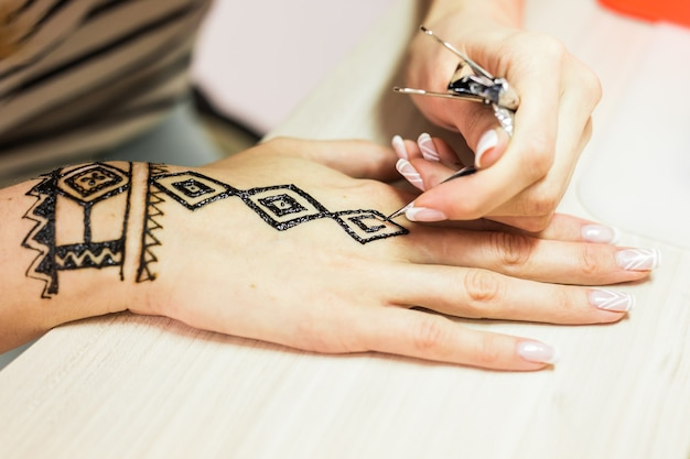 Foto van menselijke hand die met henna wordt verfraaid. mehendi-hand.