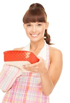 Foto van mooie kokende huisvrouw over wit