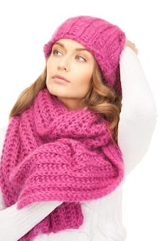 Foto van mooie vrouw in winterhoed