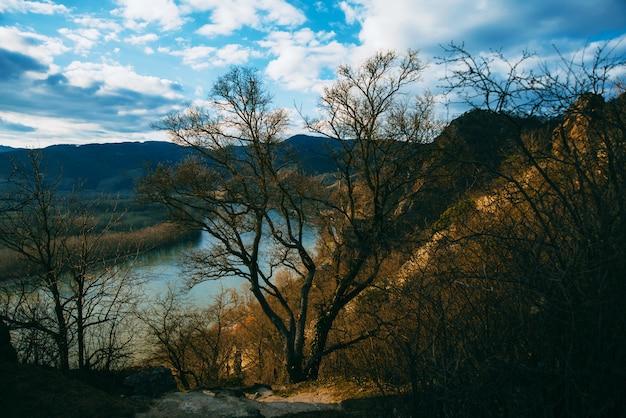 Foto van sommige donkere heuvels dichtbij de rivier van donau op de lentetijd zonder bladerenbomen en geel gras.