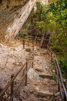 Foto van trappen en gangen in de natuur