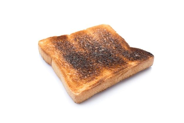 Foto van verbrand brood geïsoleerd op een witte