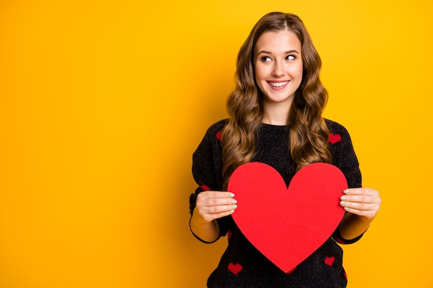 Foto van vrij grappige krullende dame met groot papieren hart demonstrerend creatief idee briefkaart kijken lege ruimte draag zwarte rode harten patroon trui