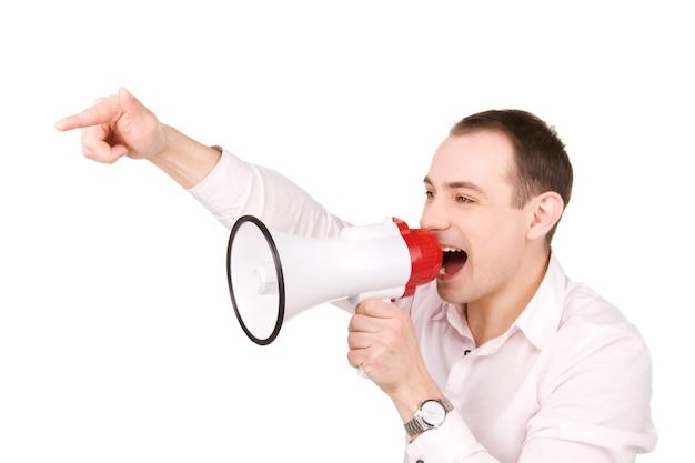 Foto van zakenman met megafoon over wit