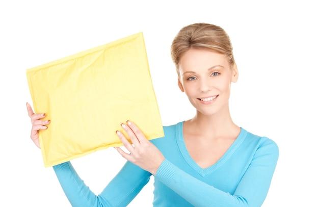 Foto van zakenvrouw met pakje over wit