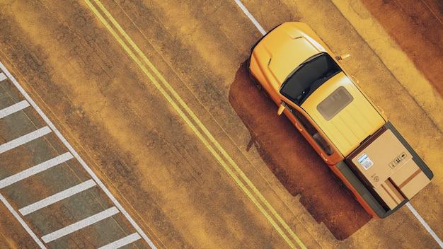 Foto vanaf de bovenkant van de gele leveringswagen.