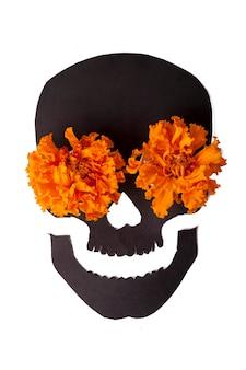 Foto voor el día de muertos en halloween met traditionele attributen