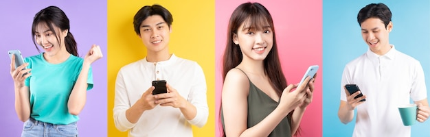 Fotocollage van vrolijke aziatische jongeren