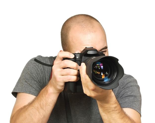 Fotograaf met behulp van een camera