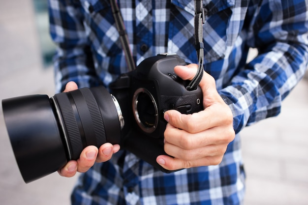 Fotografie apparatuur dslr camera backstage fotograaf