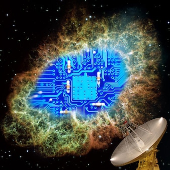 Fotografie op het gebied van radio-elektronica. microprocessor bord close-up. elementen van deze afbeelding zijn geleverd door nasa