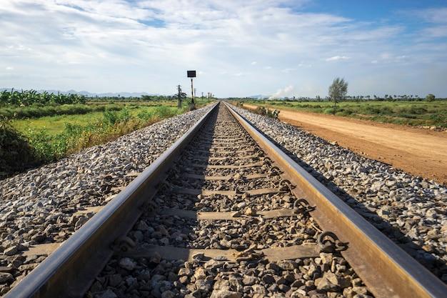 Fotografie van spoorwegsporen in een landelijke scène.