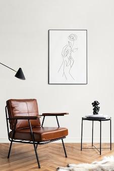 Fotolijst met lijntekeningen bij een leessalontafel in een woonkamer