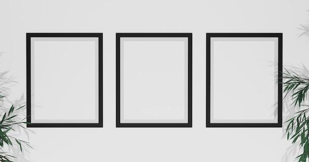 Fotolijst mockup met bladeren op witte muur, 3d-rendering