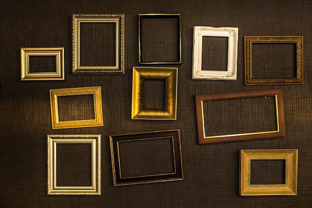 Fotolijst vector. fotokunstgalerie op vintage muur.